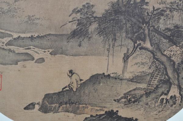 古风抚琴素描手绘图片